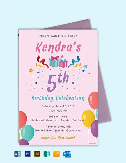 Free 5th Birthday Invitation Template