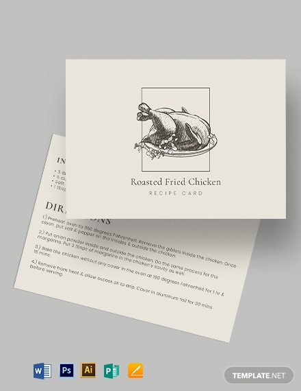 General Recipe Card Template
