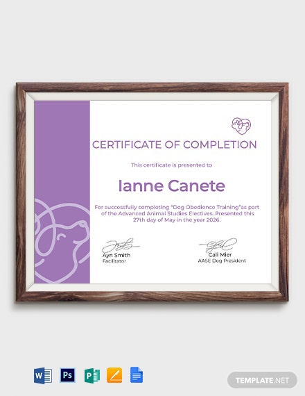 Certificate of Completion in Dog Obedience Template