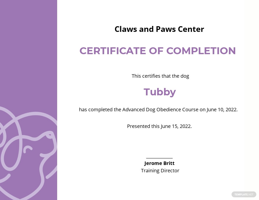 Certificate of Completion in Dog Obedience Template.jpe