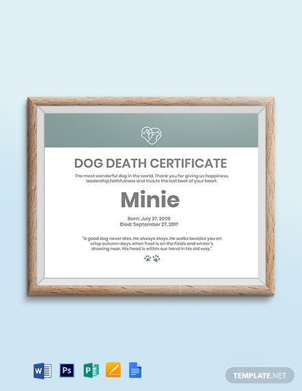 Dog Death Certificate Template