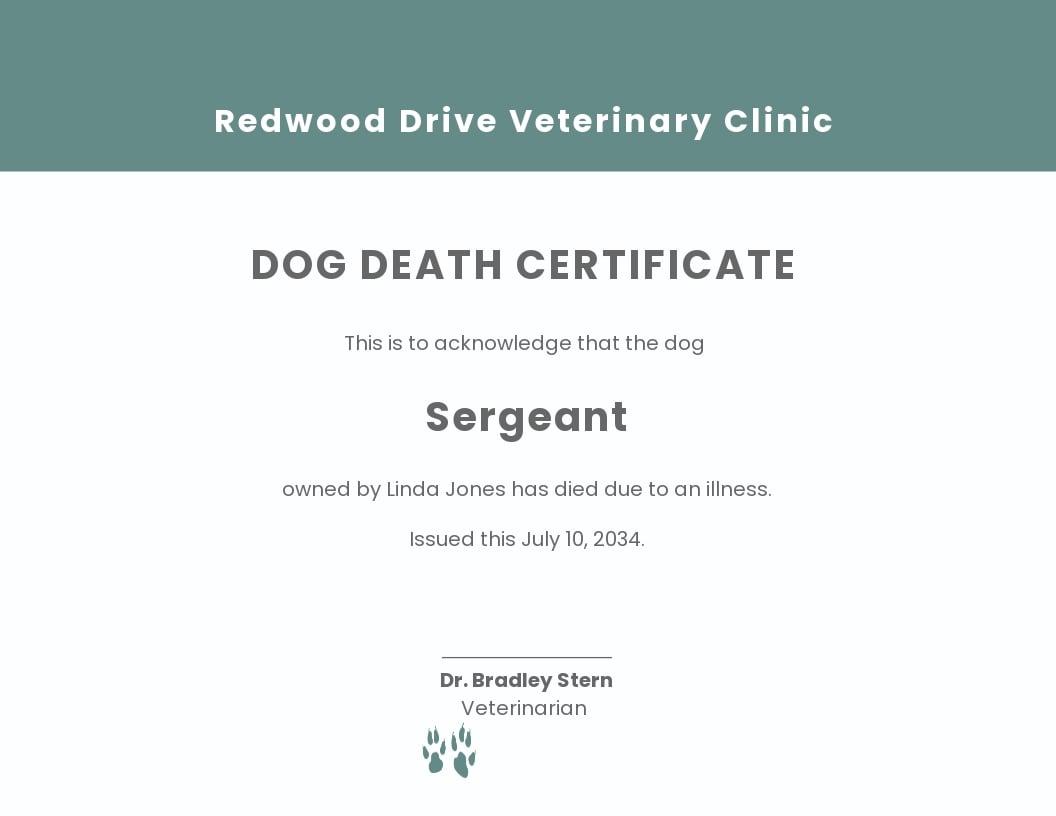 Dog Death Certificate Template.jpe