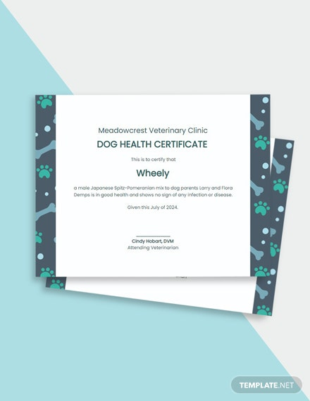 Dog Health Certificate Template