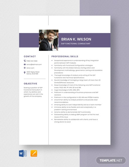 SAP Functional Consultant Resume Template