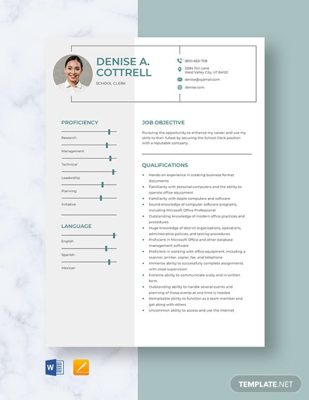 School Clerk Resume Template