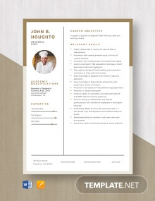 Seasonal Chef Resume Template