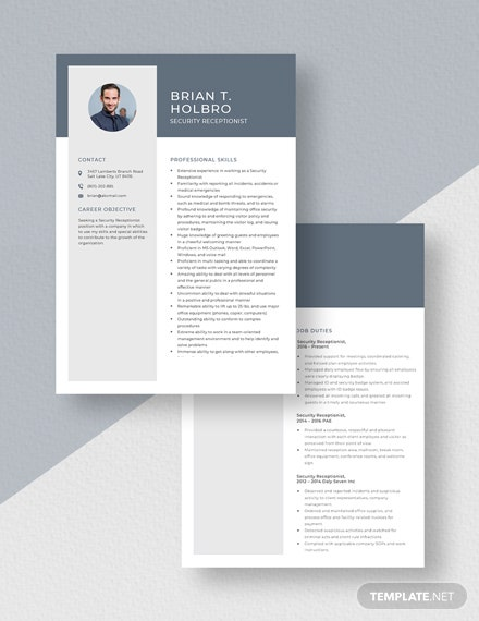Security Receptionist Resume download