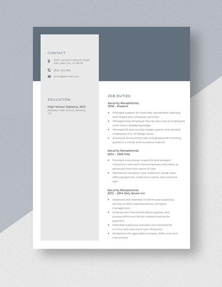 Security Receptionist Resume template