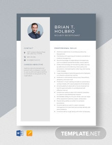 Security Receptionist Resume Template