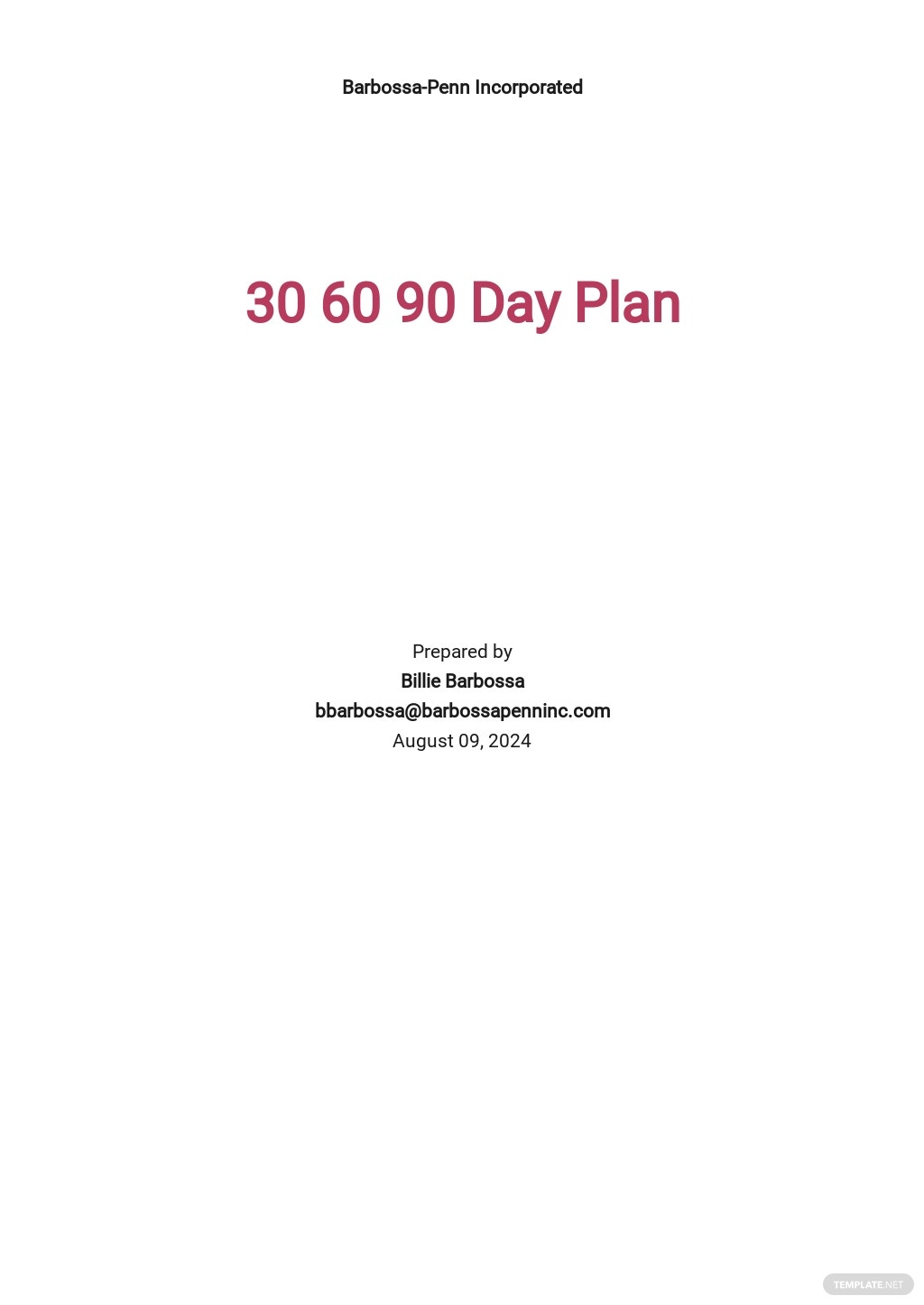 30-60-90-Day Operations Plan Template