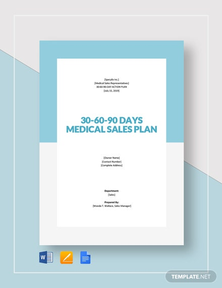 30 60 90 day plan medical sales