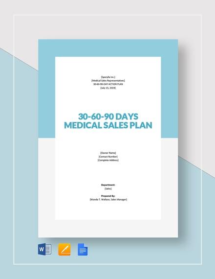 30 60 90 day plan medical sales