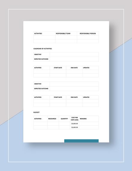 Sample Blank Work Plan