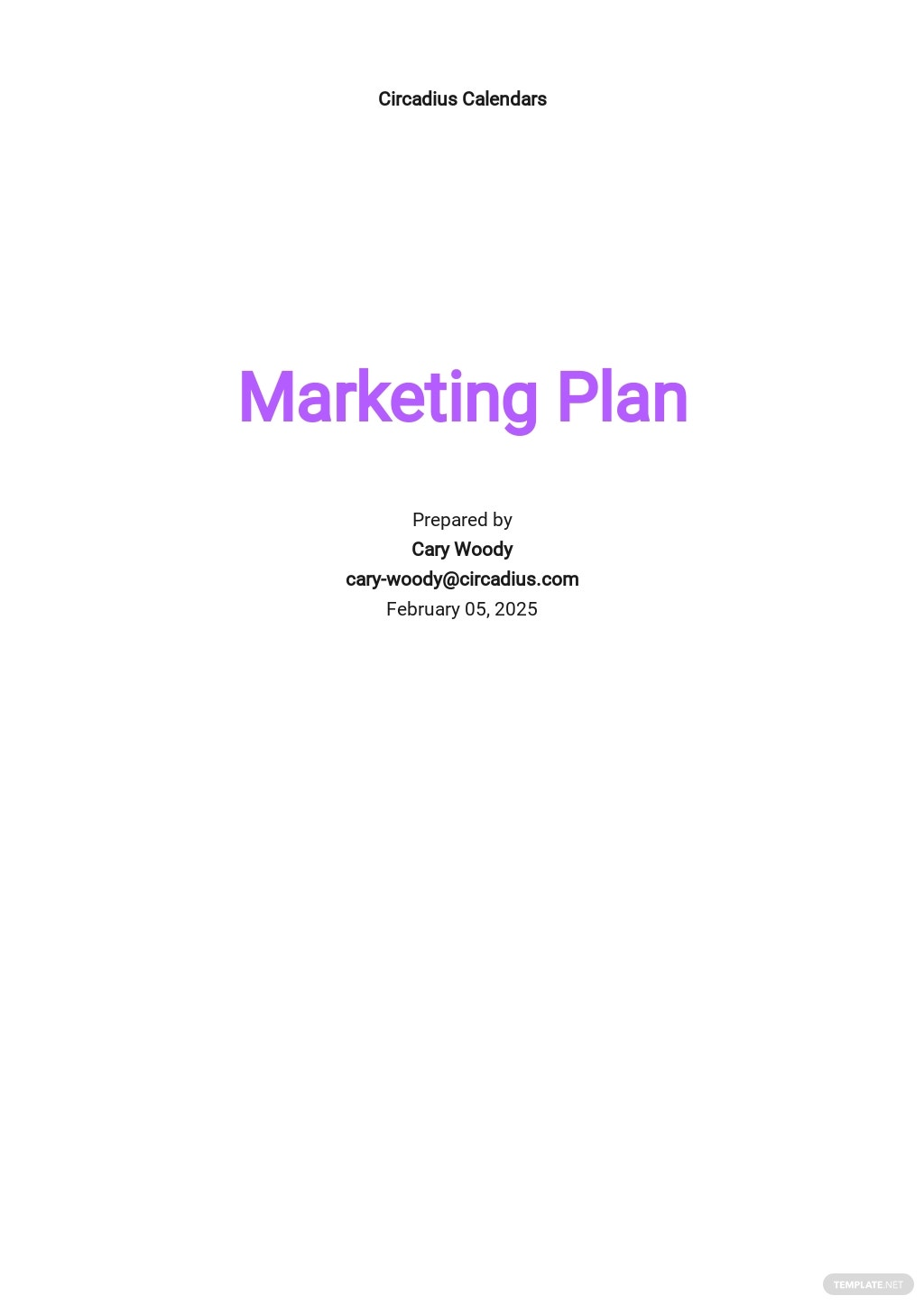 Calendar Marketing Plan Template