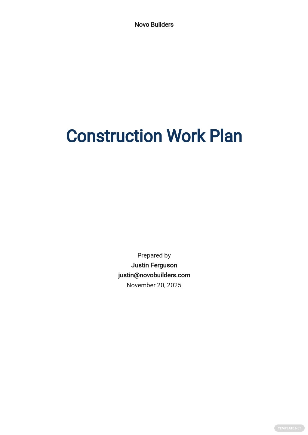 Construction Work Plan Template