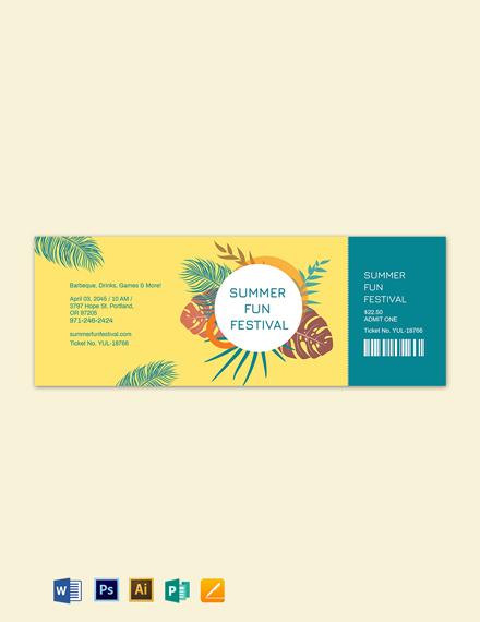 summer festival ticket template