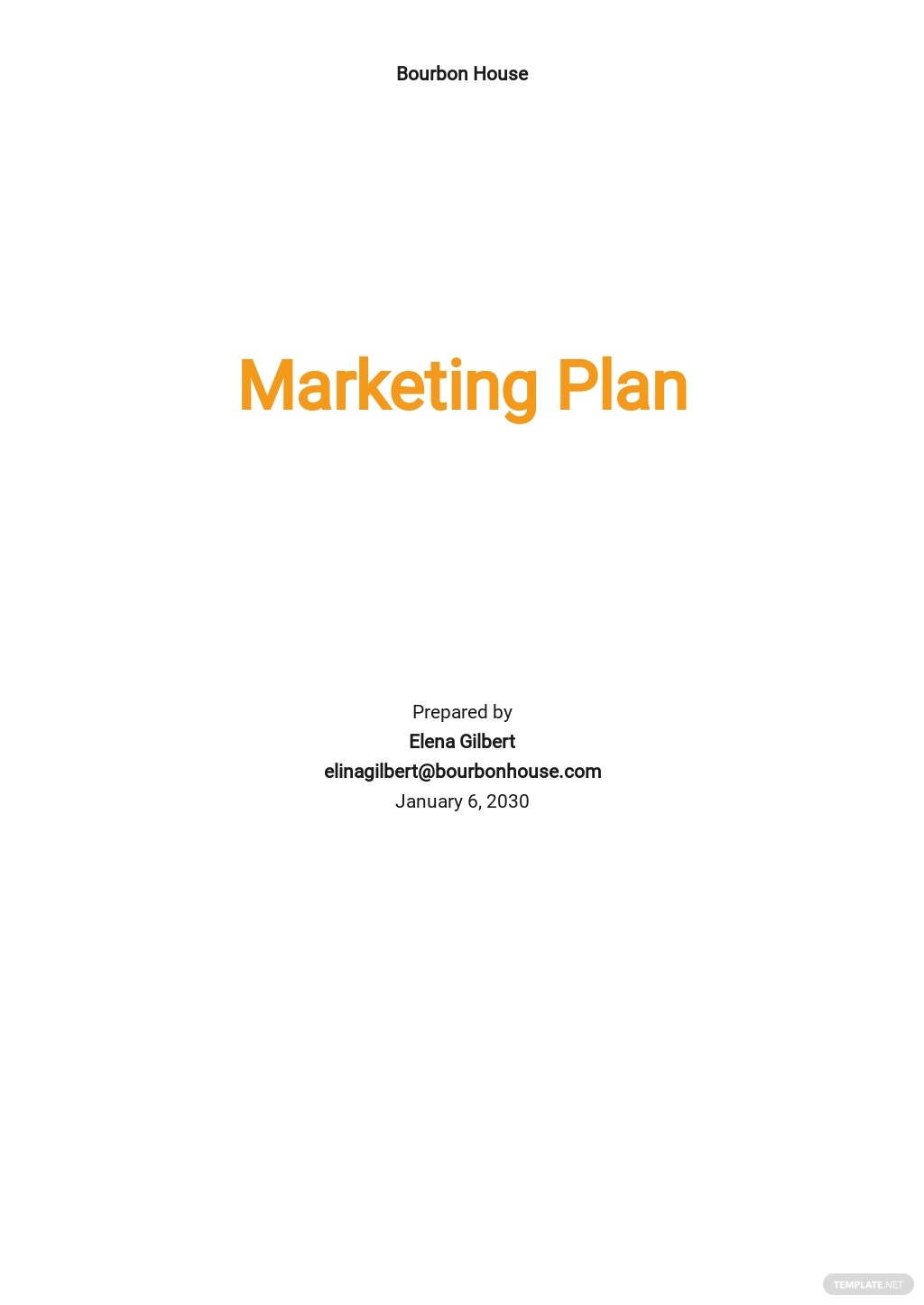 Cover Page Marketing Plan Template