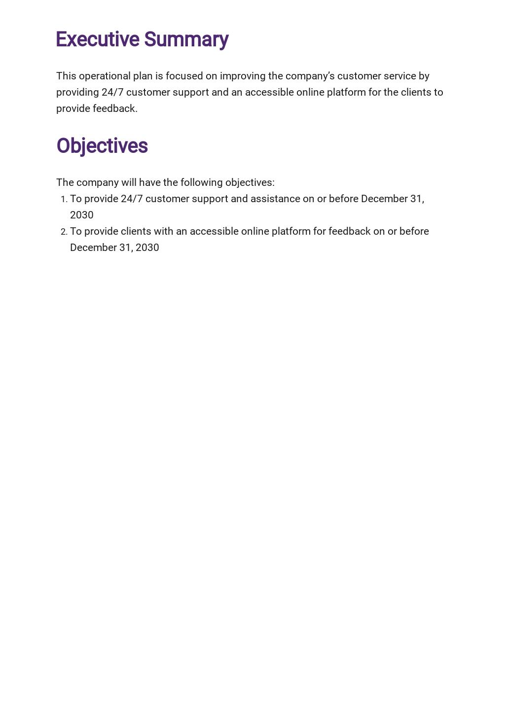 Customer Service Operational Plan Template 1.jpe