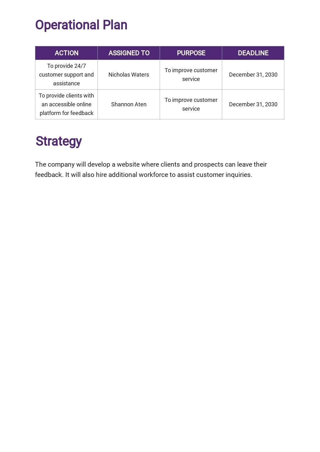 Customer Service Operational Plan Template 2.jpe