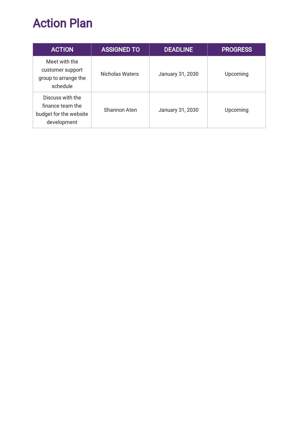 Customer Service Operational Plan Template 4.jpe