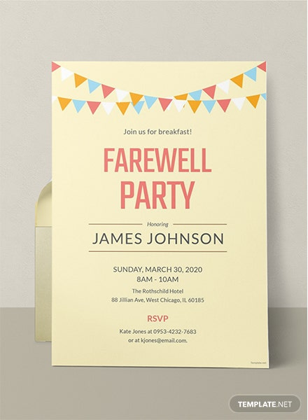 Farewell Breakfast Party Invitation Template