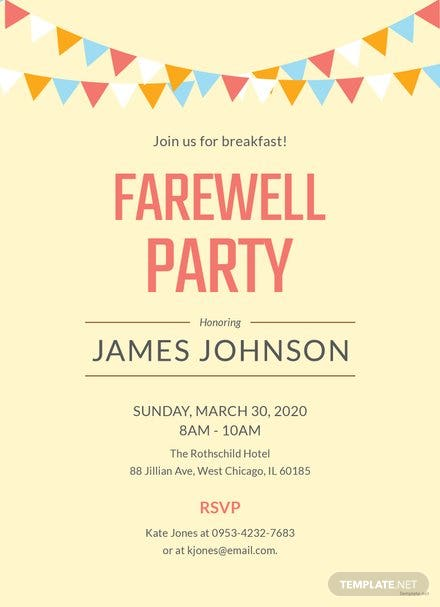 Free Invitation Farewell Templates   Download Ready-Made   Template.net