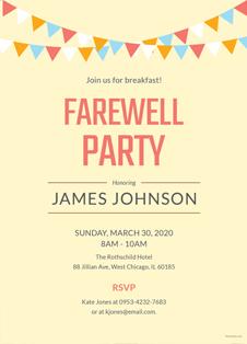 Farewell Breakfast Party Invitation Template