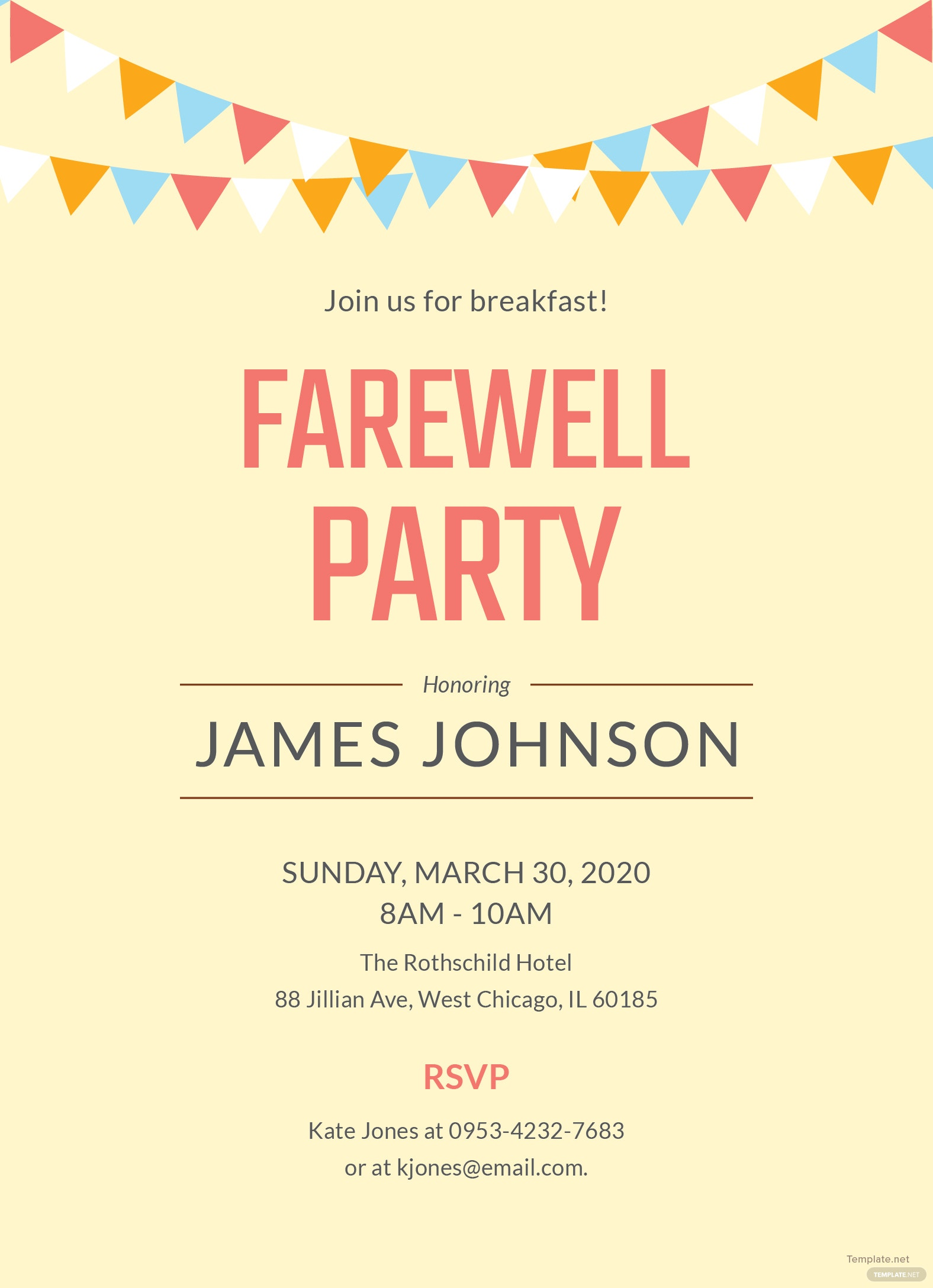 farewell breakfast party invitation template in adobe