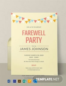 Free Farewell Breakfast Party Invitation Template