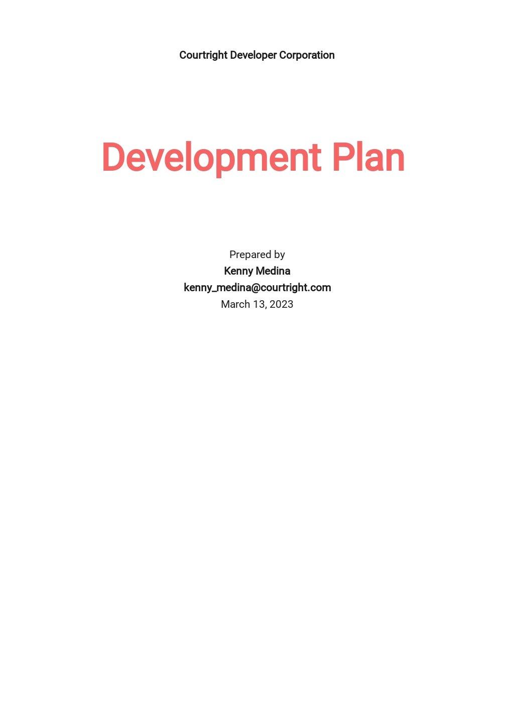 Development Plan Format Template