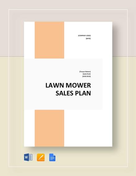 Lawn Mower Sales Plan Template