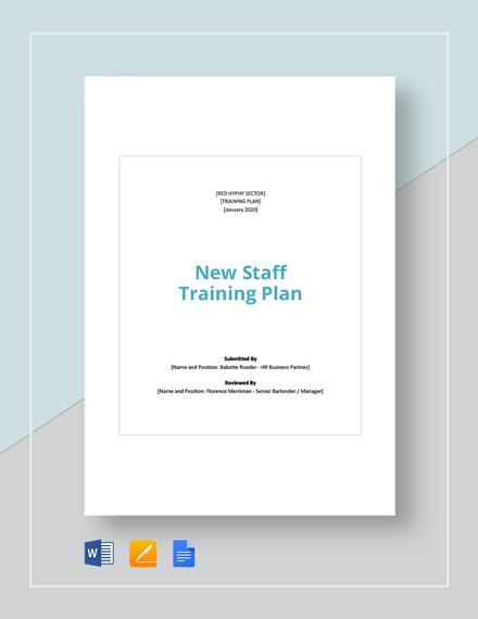 New staff Training Plan Template
