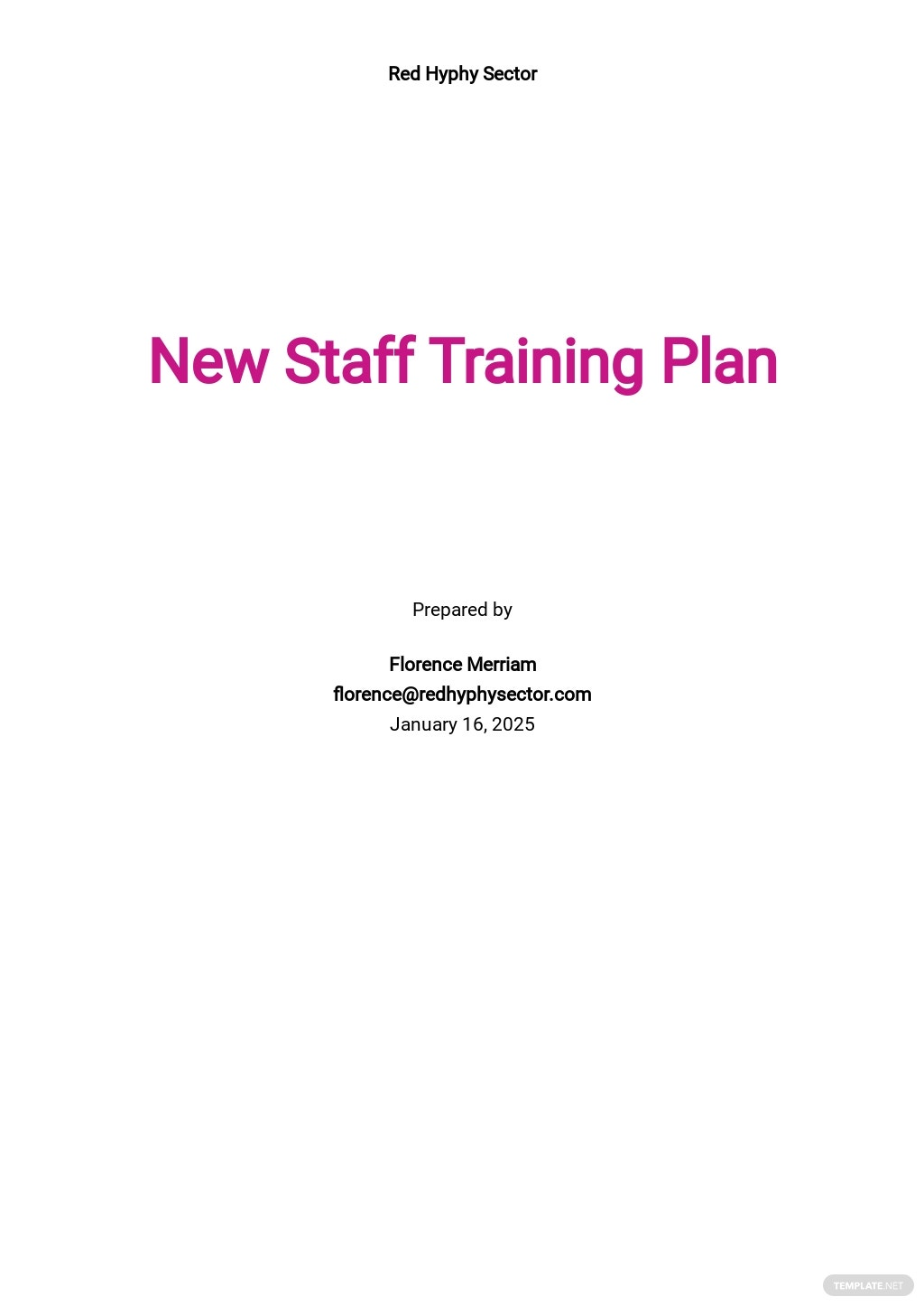 New staff Training Plan Template
