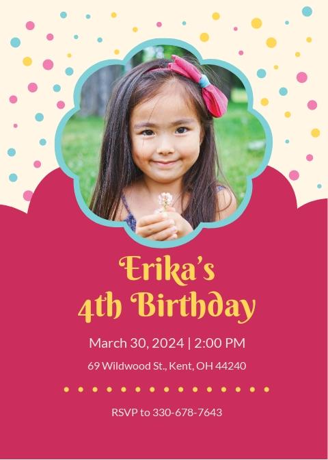 Free Simple Kid's Birthday Invitation Template.jpe