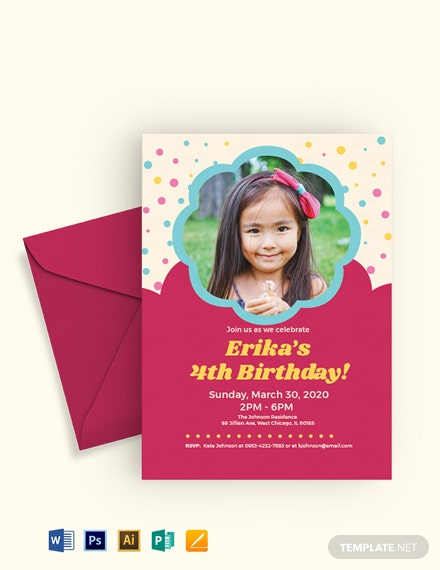 Free Simple Kids Birthday Invitation Template