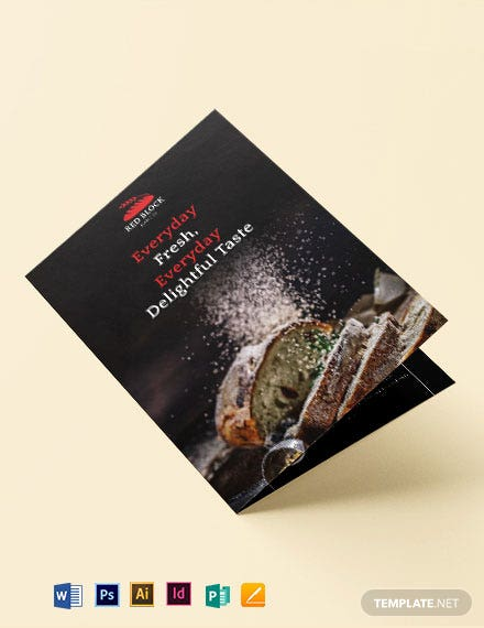 Bakery Menu Bi-Fold Brochure Template