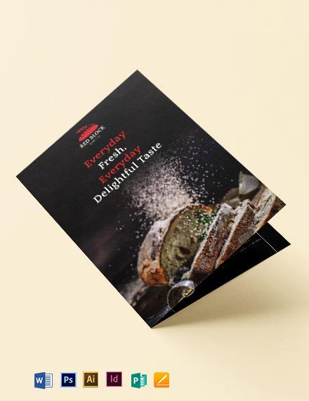 Bakery Menu Bi-Fold Brochure Template
