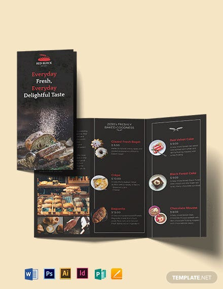 Bakery Menu Tri-Fold Brochure Template