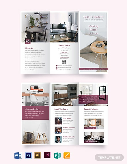 interior decor tri fold brochure template