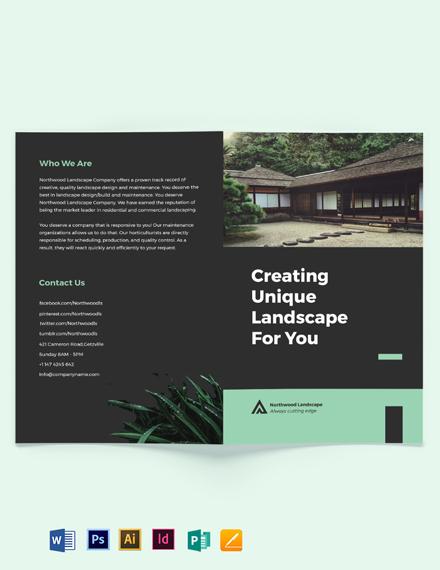 Landscape Company Bi-Fold Brochure Template