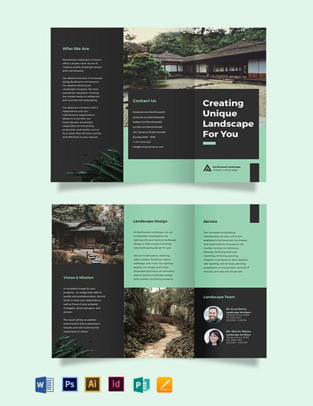Landscape Company Tri-Fold Brochure Template