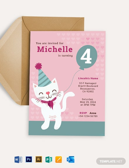 Free Kitty Birthday Invitation Template