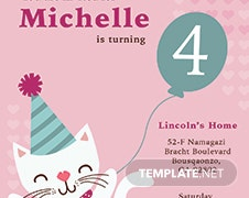 Kitty Birthday Invitation Template