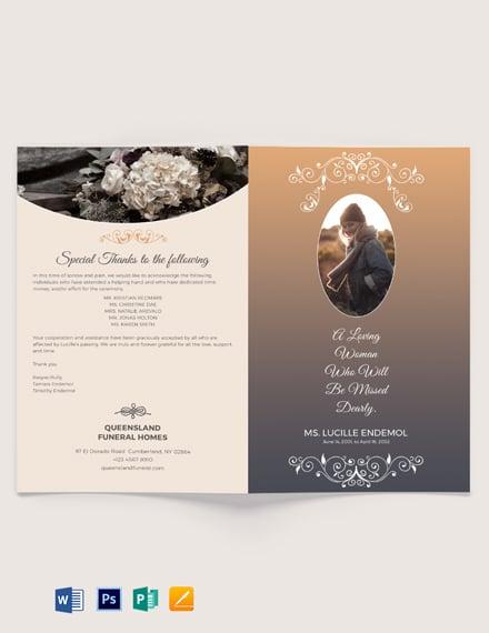 Printable Burial Funeral Bi-Fold Brochure Template