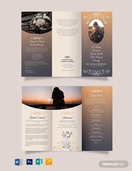 Printable Burial Funeral Tri-Fold Brochure Template