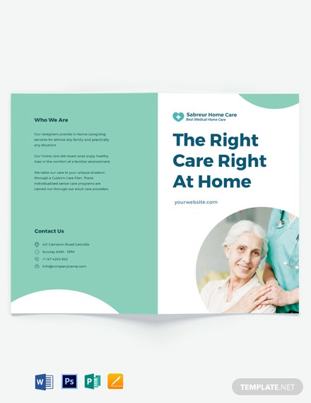 Printable Home Care Bi-Fold Brochure Template