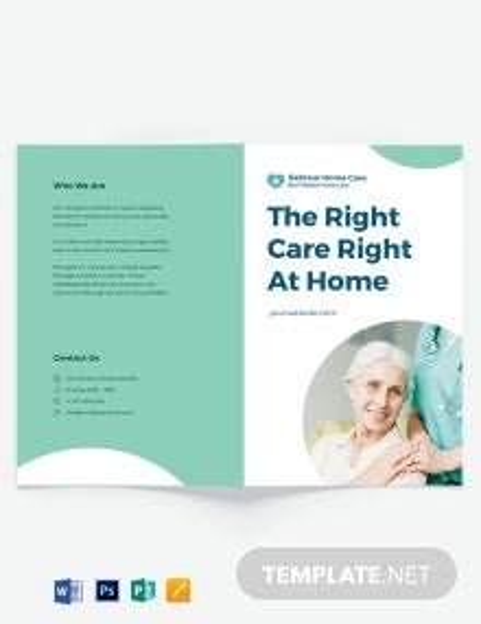 Printable Home Care Bi-Fold Brochure Template