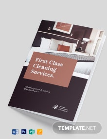 Professional Cleaning Service Bi-Fold Brochure Template