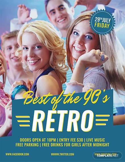Free Cool Retro Style Flyer Template