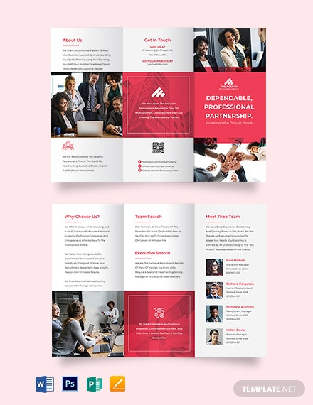sample recruitment agency tri fold brochure template